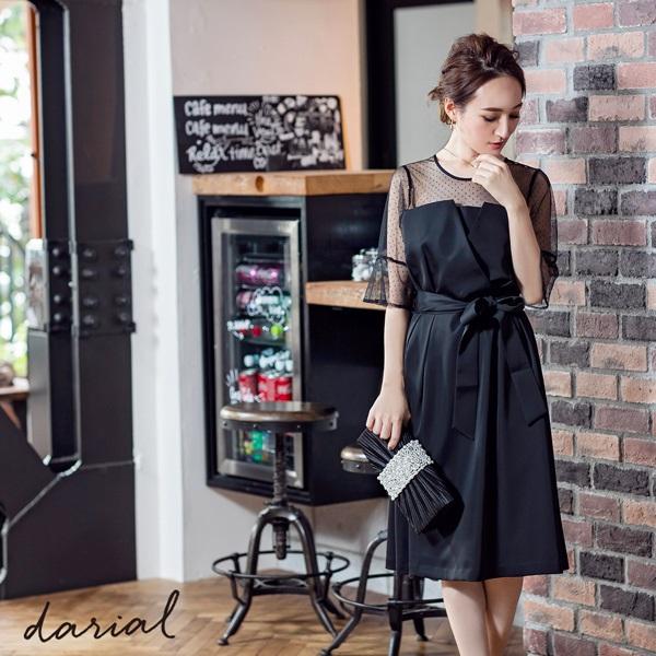 ドットチュールレイヤードデザインドレス