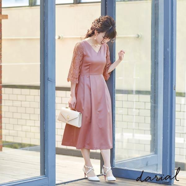 《桃さんコラボドレス》サテンフレアワンピースドレス