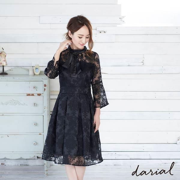 darial(ダリアル) シアーフラワーフレアワンピースドレス